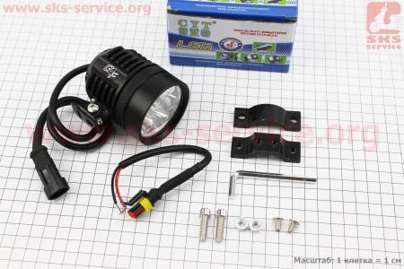 Фара дополнительная светодиодная влагозащитная - 6 LED с креплением, 60мм для мотоциклов разных моделей (Китай, импорт)