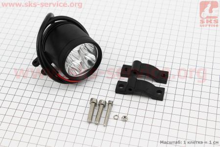 Фара дополнительная светодиодная влагозащитная - 4 LED с креплением, 54мм на ATV-квадроциклы разных моделей (Китай, импорт)