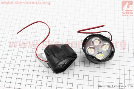 Фара дополнительная светодиодная влагозащитная - 4 LED с креплением, к-кт 2шт 64*50мм  на ATV-квадроциклы разных моделей (Китай, импорт)