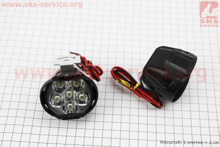 Фара дополнительная светодиодная влагозащитная - 6 LED с креплением, к-кт 2шт 64*52мм на ATV-квадроциклы разных моделей (Китай, импорт)