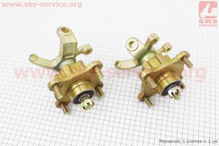 Цапфа (поворотный кулак) ATV 150-250 правый + левый в сборе с ступицой (на 4 болта) под дисковый тормоз (ось 20мм) на ATV-квадроциклы разных моделей (Китай, импорт)