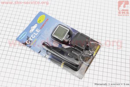 Велокомпьютер 23-функций, проводной, черный 568