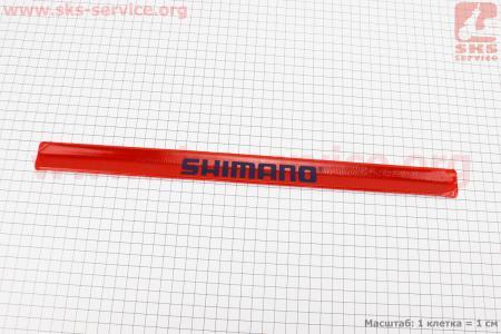 Защита штанов от попадания в цепь, светоотражающая, красная SHIMANO для велосипедов