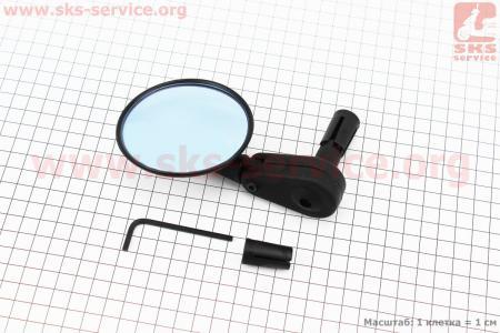 Зеркало круглое, регулируемое, угол настройки 360°, черное SBM-4065 для велосипеда