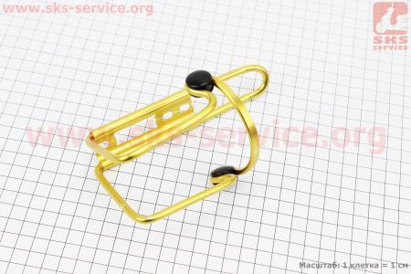 Флягодержатель алюминиевый с пластмассовыми вставками, крепл. на раму, желтый для велосипедов