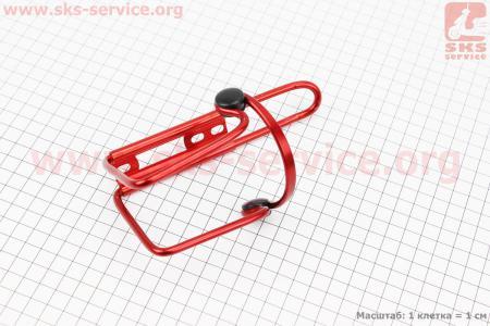Флягодержатель алюминиевый с пластмассовыми вставками, крепл. на раму, красный для велосипедов