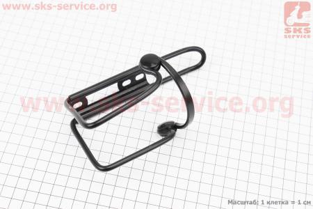 Флягодержатель алюминиевый с пластмассовыми вставками, крепл. на раму, черный для велосипедов