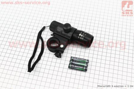 Фонарь передний 1 диод (линза), алюминиевый, черный JY-359 для велосипедов