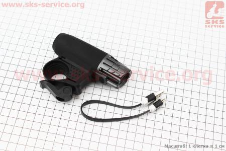 Фонарь передний 1 диод 200 lumen, Li-ion 3.7V 1200mAh зарядка от USB, влагозащитный, черно-серый для велосипеда