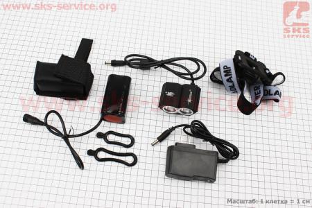 Фонарь передний 2 диодa 1800 lumen алюминиевый, Li-ion 6400mAh с зарядкой, влагозащитный X2 для велосипедов