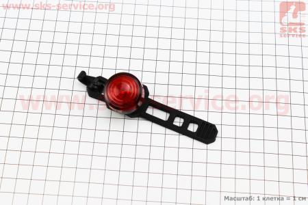 Фонарь задний 1 диод, JY-6003Т (без батареек) для велосипеда