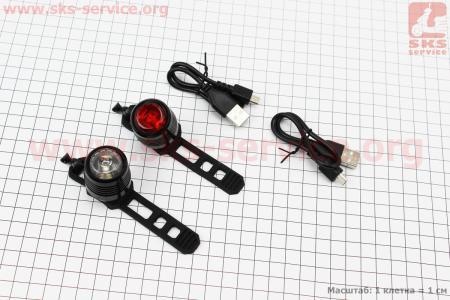 Фонарь передний 1 диод + задний 1 диод, алюминиевые, Li-ion 3.7V 260mAh зарядка от USB, влагозащитные к-кт, JY-3006U для велосипедов