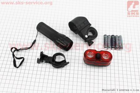 Фонарь передний 1 диод (линза) алюминиевый + задний 2 диода к-кт, JY-359+528 для велосипедов
