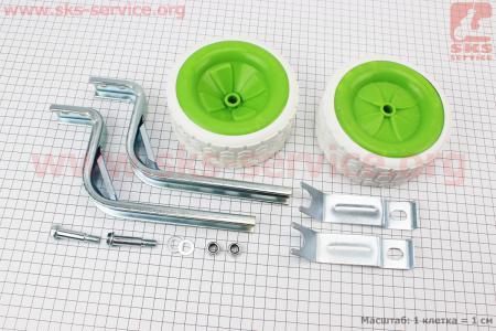 """Колёса боковые широкие 12-20"""", зелено-белые Lumari HR18 для велосипеда"""