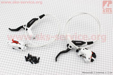 Тормоз дисковый гидравлический передний + задний (адаптер R180мм) к-кт, белый BR-M395 для велосипеда