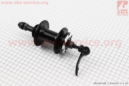Втулка задняя MTB алюминиевая 14Gx36H под вольнобег, диск. тормоз, крепл. эксцентрик, черная SF-B07R для велосипеда