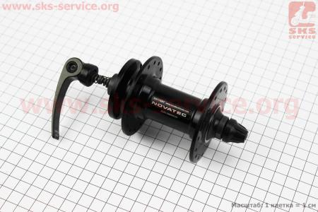 Втулка передняя MTB алюминиевая 14Gx32H под диск. тормоз, 2 пром-подшипники 6000 2RS, крепл. эксцентрик, черная D471SBT для велосипеда
