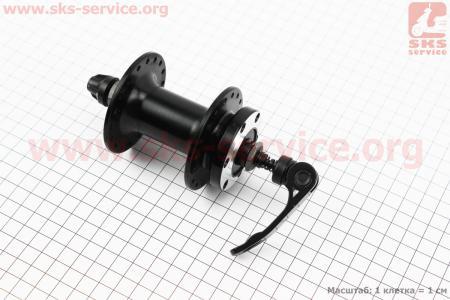 Втулка передняя MTB алюминиевая 14Gx36H под диск. тормоз, крепл. эксцентрик, черная SF-B07F для велосипеда