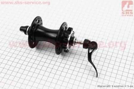 Втулка передняя MTB алюминиевая 14Gx36H под диск. тормоз, 2 пром-подшипники 6001 2RS, крепл. эксцентрик, черная SF-B25F для велосипеда