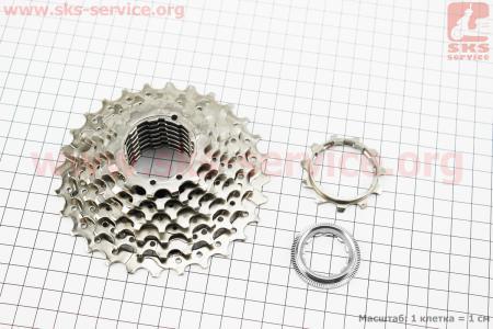 Кассета 8зв. 28,24,21,19,17,15,13,11Т, хром CLARIS CS-HG50 для велосипеда
