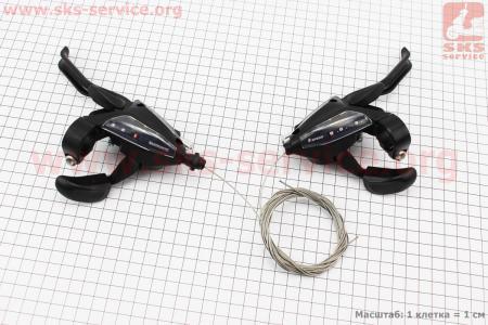 """Переключатель с рычагом """"манетка"""" лев.(3ск)+прав.(8ск) к-кт, черные ST-EF 500 для велосипеда"""