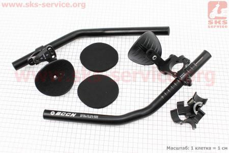 Руль лежак 22,2/25,4/31,8x330мм, регулируемый, алюминиевый, черный BCCN N-X008 для велосипеда