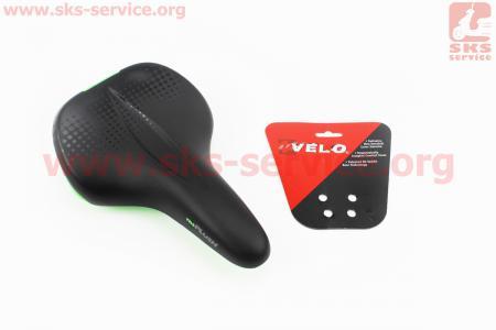 Сиденье на MTB, черно-салатовое PLUSH VL-6334 для велосипеда