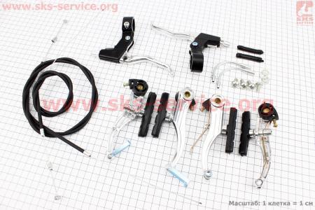 Тормоз V-brake задний+передний в сборе 110мм, рычаги+троса, алюминиевые для велосипеда