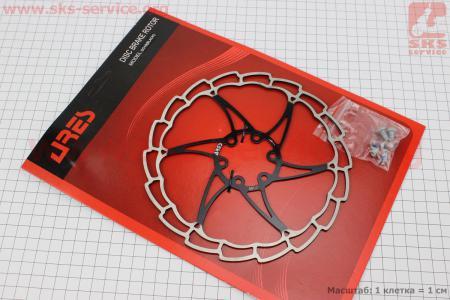 Тормозной диск 180мм, под 6 болтов, черный SG18 для велосипеда