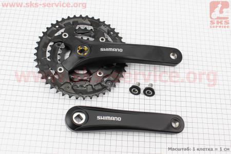 """Шатун (крепление """"квадрат"""") 170мм, 44.32.22T к-кт МТВ, алюминиевые, черные ACERA FC-Т3010 для велосипеда"""