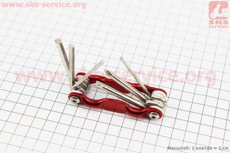 Ключ-набор 6предметов (шестигранники 3,4,5,6мм, отвёртки прямая и фигурная), красный для велосипеда