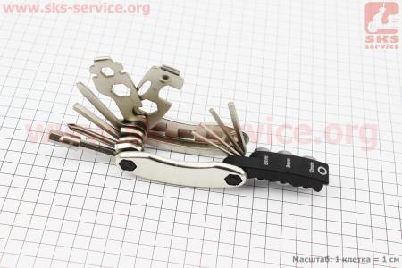 Ключ-набор 21предмет (2,2.5,3,4,5,6,8мм, отвёртки прямая и фигурная, головки 8,9,10мм, гаечные  8,9,10,12,13,15мм, спицные ключи 14,15G, лопатки) для велосипеда