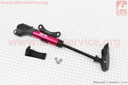 Насос MTB алюминиевый с Т-ручкой, красный SPM-196A для велосипеда