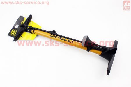 """Насос ручной """"напольный"""" с манометром 160 psi, под штуцера Schrader&Presta, желтый SPM-155P для велосипеда"""