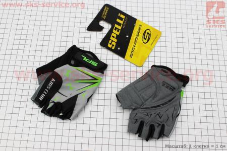 Перчатки детские без пальцев 2XS-черно-серо-зеленые, с мягкими вставками под ладонь SKG-1553 для велосипеда