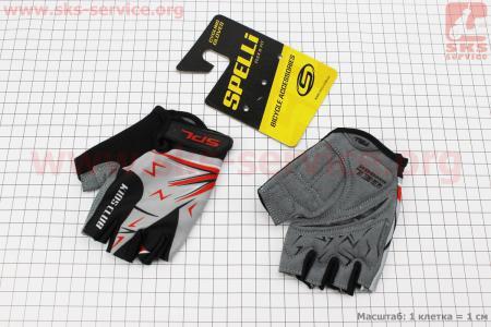 Перчатки детские без пальцев 2XS-черно-серо-красные, с мягкими вставками под ладонь SKG-1553 для велосипеда
