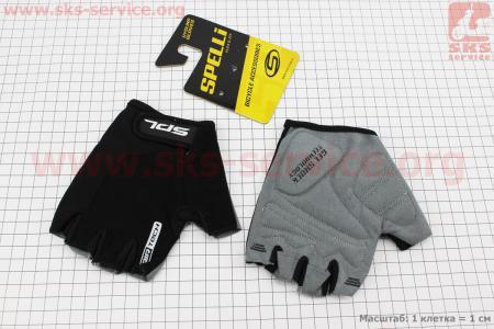 Перчатки без пальцев L-черные, с гелевыми вставками под ладонь SBG-1457 для велосипеда