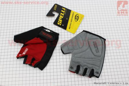 Перчатки без пальцев L-черно-красные, с гелевыми вставками под ладонь SBG-1457 для велосипеда