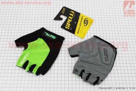Перчатки без пальцев L-черно-салатовые, с гелевыми вставками под ладонь SBG-1457 для велосипеда
