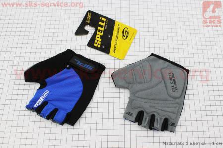 Перчатки без пальцев L-черно-cиние, с гелевыми вставками под ладонь SBG-1457 для велосипеда