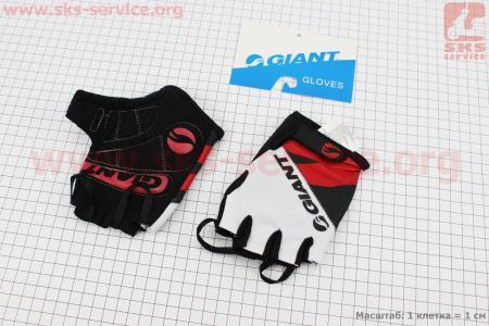 """Перчатки без пальцев M-черно-бело-красные, с мягкими вставками под ладонь """"GIANT"""" для велосипеда"""