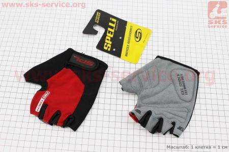 Перчатки без пальцев M-черно-красные, с гелевыми вставками под ладонь SBG-1457 для велосипеда