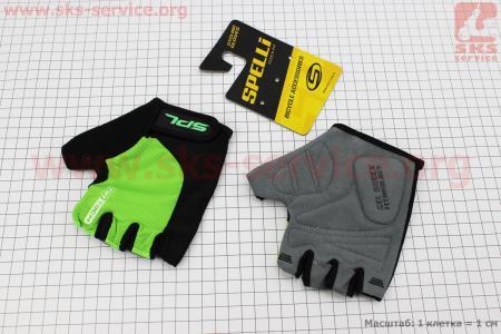 Перчатки без пальцев M-черно-салатовые, с гелевыми вставками под ладонь SBG-1457 для велосипеда