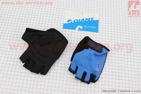 """Перчатки без пальцев M-черно-синие, с мягкими вставками под ладонь """"GIANT"""" для велосипеда"""