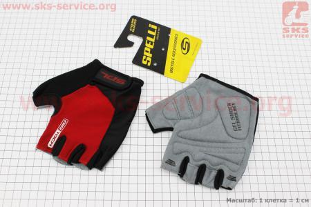 Перчатки без пальцев XL-черно-красные, с гелевыми вставками под ладонь SBG-1457 для велосипеда