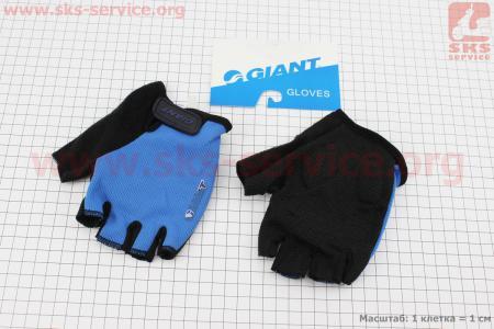 """Перчатки без пальцев XL-черно-синие, с мягкими вставками под ладонь """"GIANT"""" для велосипеда"""