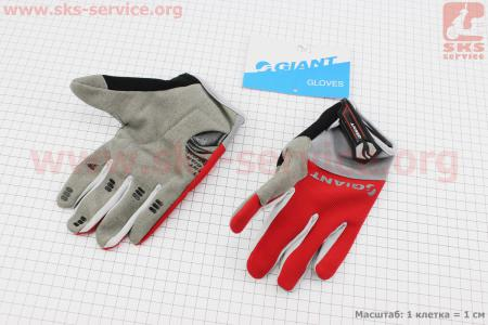 """Перчатки M-серо-красные, с мягкими вставками под ладонь """"GIANT"""" для велосипеда"""
