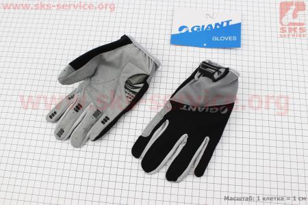 """Перчатки M-черно-серые, с мягкими вставками под ладонь """"GIANT"""" для велосипеда"""