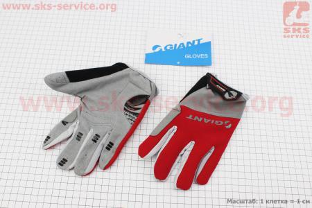 """Перчатки L-серо-красные, с мягкими вставками под ладонь """"GIANT"""" для велосипеда"""