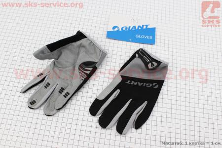 """Перчатки L-черно-серые, с мягкими вставками под ладонь """"GIANT"""" для велосипеда"""